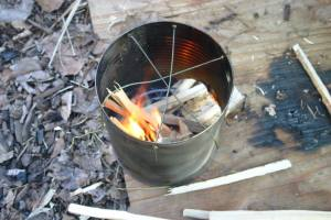participants are required to make a hobo stove for cooking and warmth
